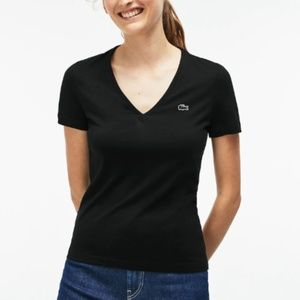 Lacoste Women's Slim Fit V-Neck Cotton Jersey Tee